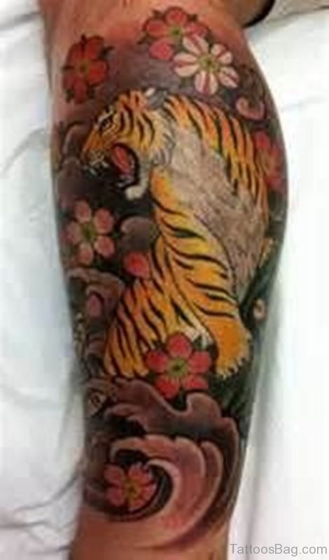 Flower And Tiger Tattoo