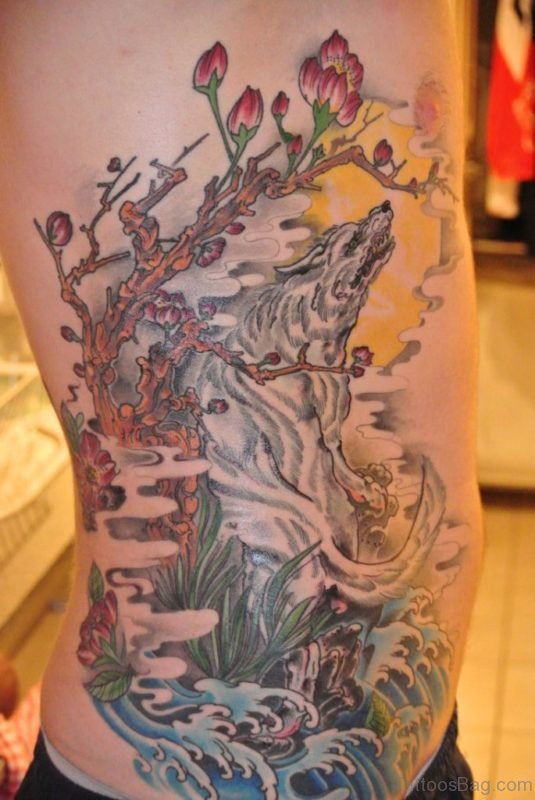 Flower And Wolf Tattoo