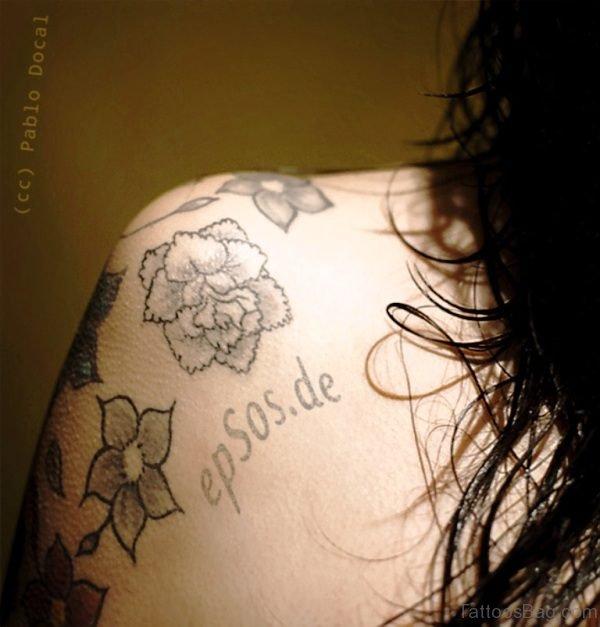 Flower Design Tattoo On Shoulder