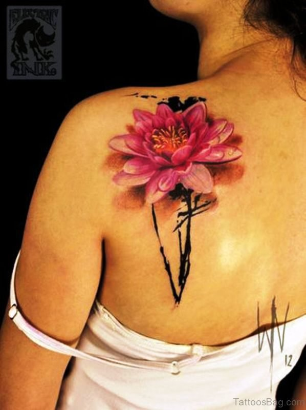 Flower Tattoo On Back Shoulder