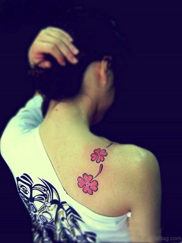 Flower Tattoo On Girl Shoulder