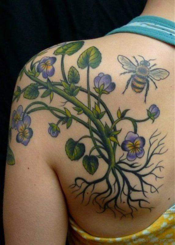 Flower Vine Tattoo On Left Shoulder