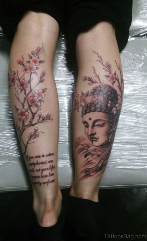 Flowers And Buddha Tattoo