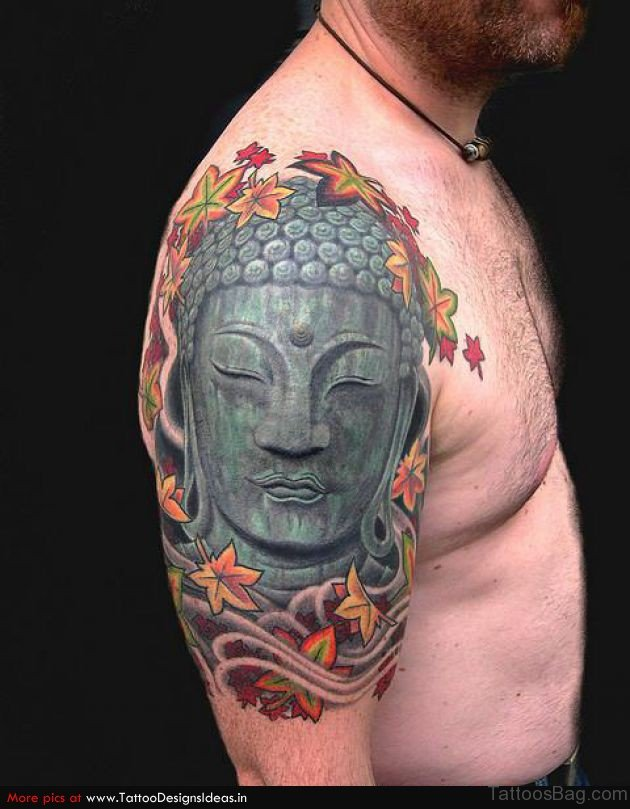 81 nice buddha tattoo on shoulder for Happy buddha tattoo