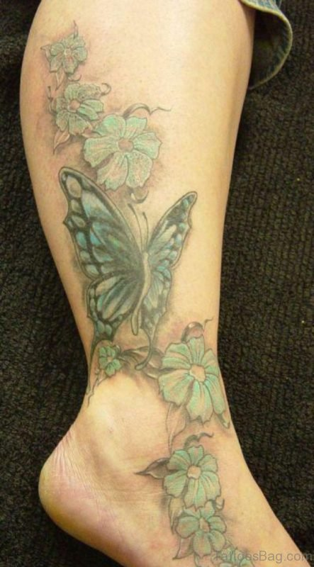 Flowers And Butterfly Tattoo On Ankle