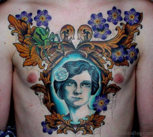 Flowers And Portrait Color Ink Chest Tattoo