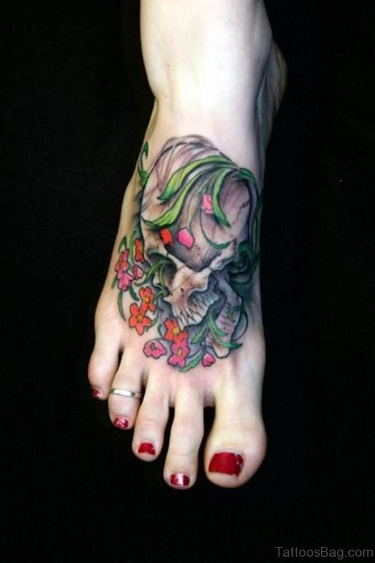 Flowers And Skull Tattoo On Foot On Right Foot