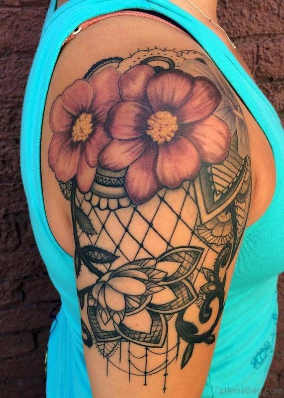 Flowers Lace Shoulder Tattoo