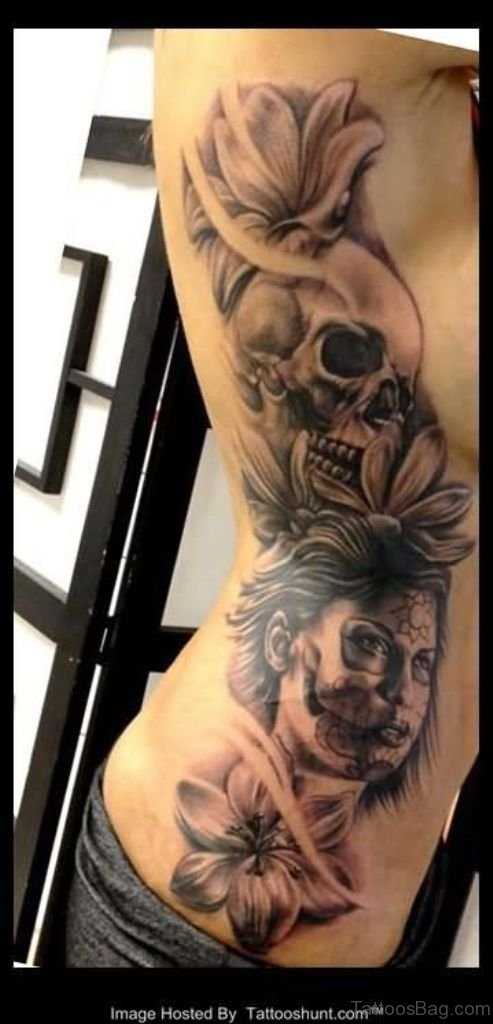 7001c848e Flowers Skull And 3D Dia De Los Muertos Tattoo On Side Rib
