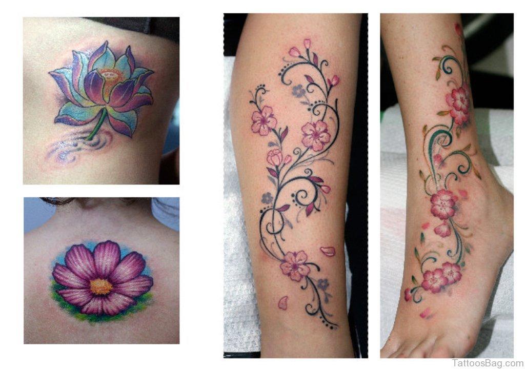 50 elegant flowers tattoos on leg. Black Bedroom Furniture Sets. Home Design Ideas