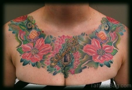 Flowers and Padlock Chest Tattoo