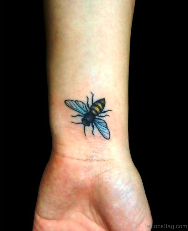 Flying Bee Tattoo On Wrist