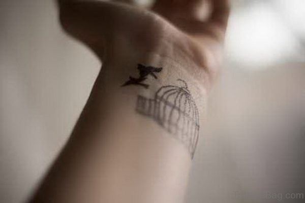 Flying Bird And Cage Tattoo On Wrist