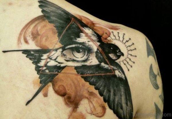 Flying Bird With Eye Tattoo
