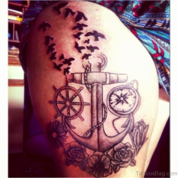 Flying Birds And Anchor Tattoo