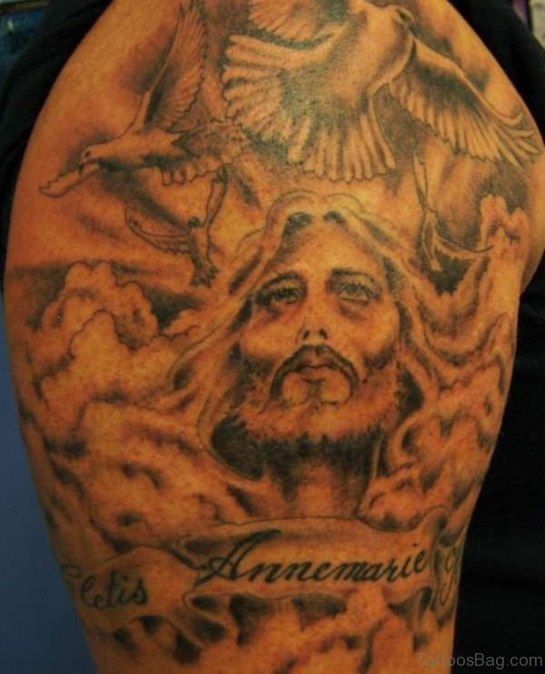 Flying Birds And Jesus Head Tattoo On Shoulder