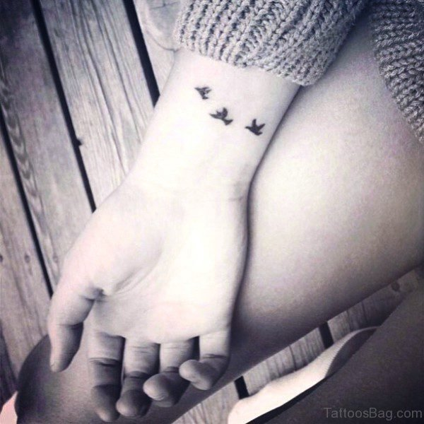 Flying Birds Tattoo On Wrist