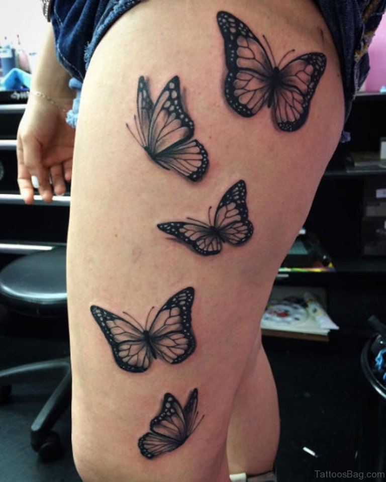 71 pretty butterfly tattoos on thigh. Black Bedroom Furniture Sets. Home Design Ideas