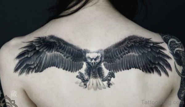 Flying Eagle Tattoo On Back