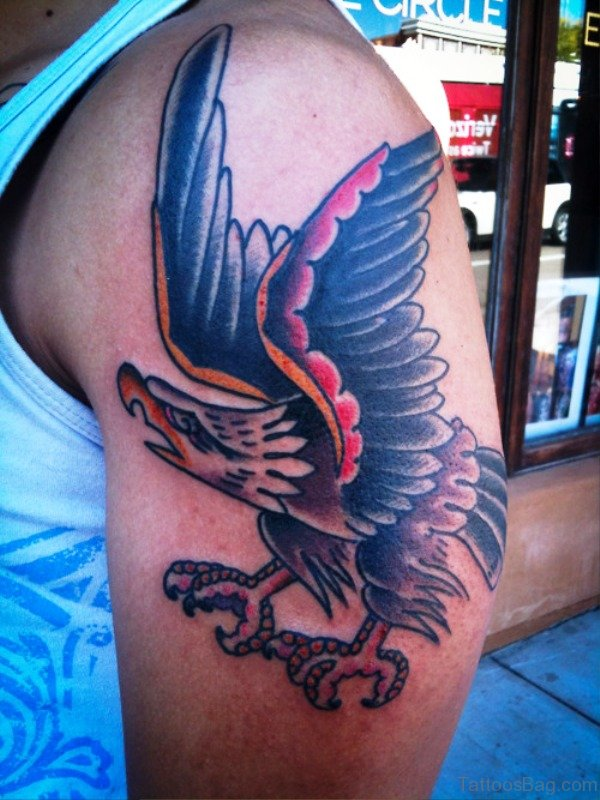 Flying Eagle Tattoo On Left Shoulder