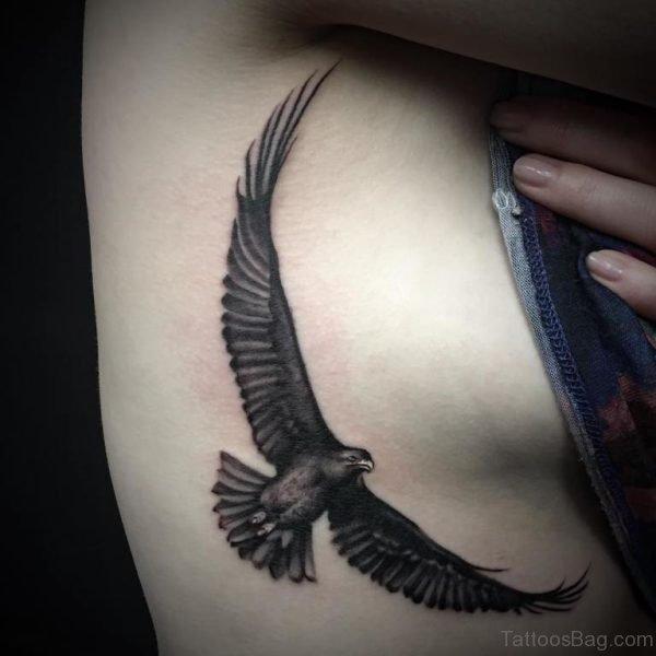 Flying Eagle Tattoo On Rib