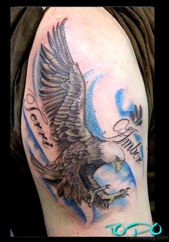 Flying Eagle Tattoo On Shoulder