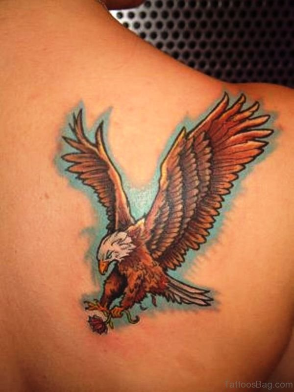 Flying Eagle With Flower Tattoo