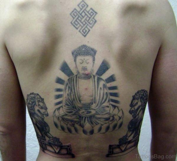 Foo Dog Buddha Tattoo On Back