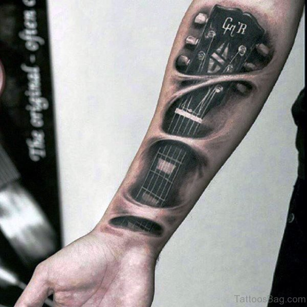 Forearm Guitar Strings Tattoo