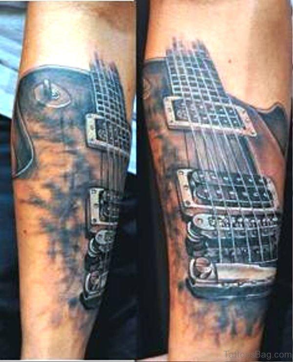Forearm Guitar Tattoo Image