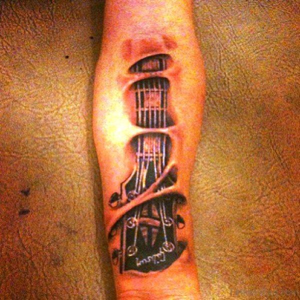 Forearm Guitar Tattoo Photo