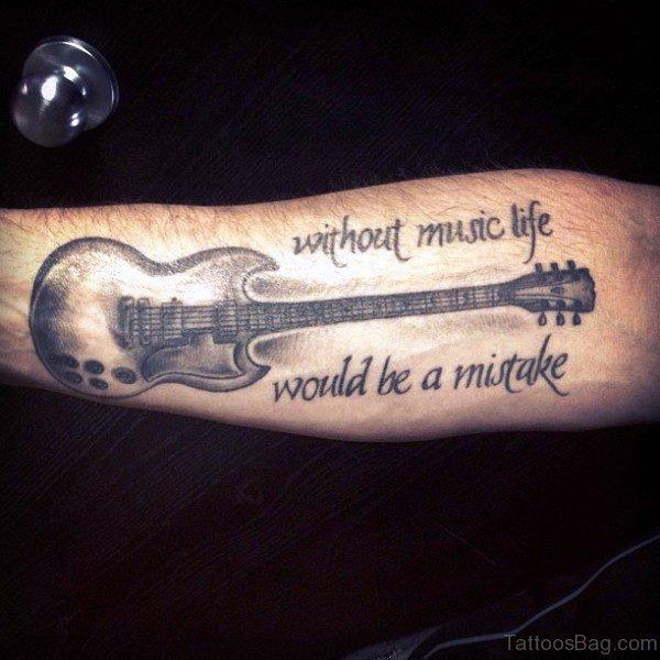 Forearm Guitar Tattoo Pic