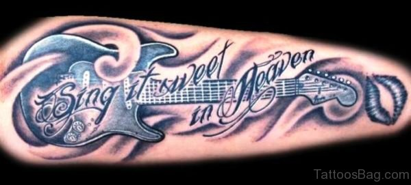Forearm Guitar Tattoo With Wording