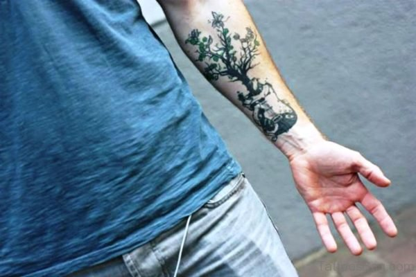 Forearm Guitar With Tree Tattoo Design