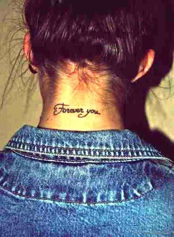 Forever You Letter Neck Tattoo