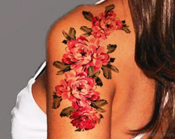 Four Beautiful Flower Colored Tattoo