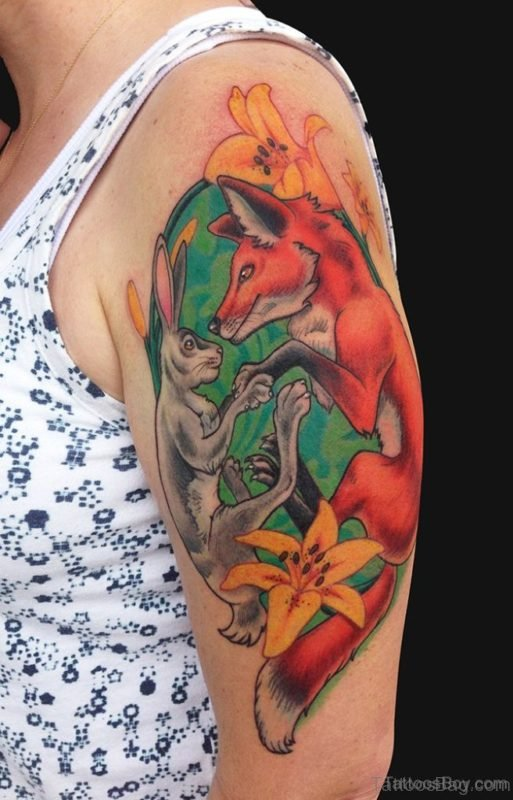 Fox And Rabbit Tattoo On Shoulder