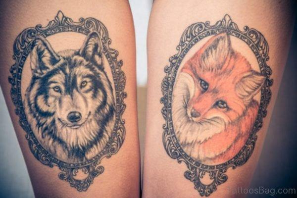 Fox And Wolf Tattoo