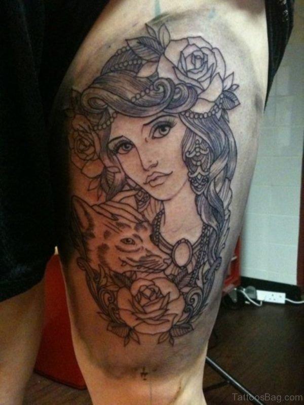 Fox Head And Girl Portrait Tattoo On Thigh
