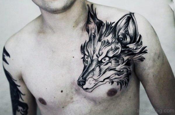 Fox Head Tattoo On Chest