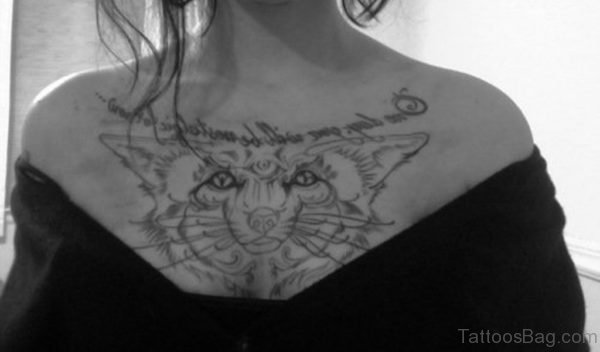 Fox Head Tattoo On Girl Chest