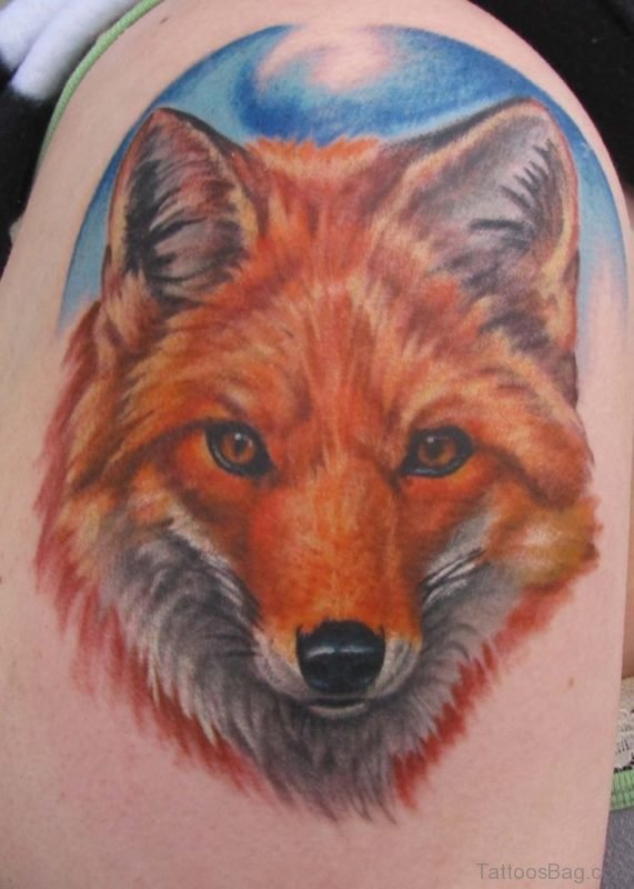Fox Head Tattoo On Left Shoulder