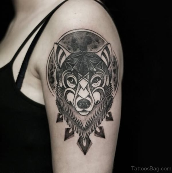 Fox Head Tattoo On Shoulder