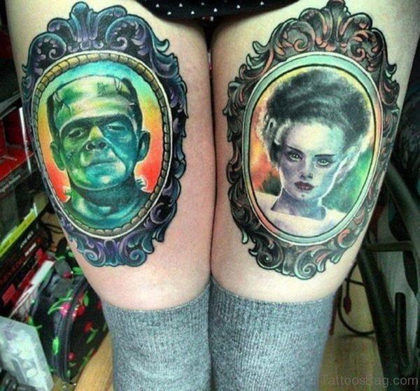 Frankenstein And Corpse Bride Portrait Tattoo