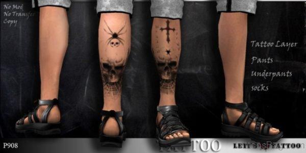Front Leg Skull Tattoo Design