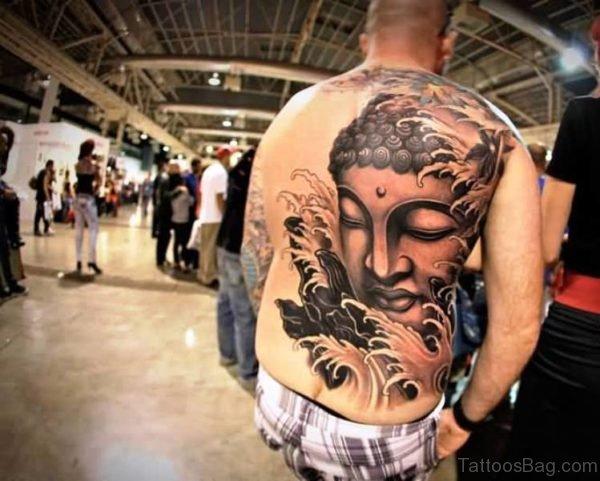 Full Back Cover Buddha Tattoo Design