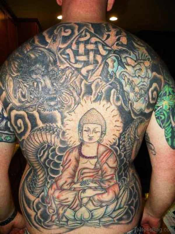 Full Back Cover Colorful Buddha Tattoo