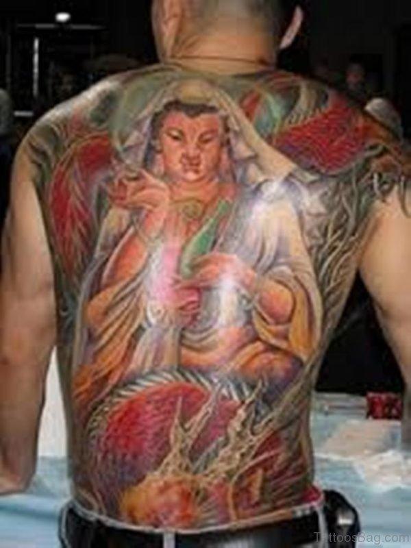 Full Color Buddha Tattoo Design on Back