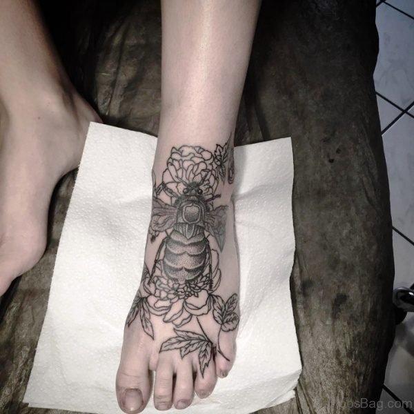Full Foot Bee Tattoo Design