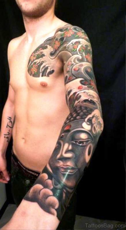 Full Sleeve Attractive Buddha Tattoo Design